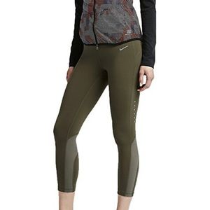 NIKE | Epic Lux Running Dri Fit Crops Olive Green